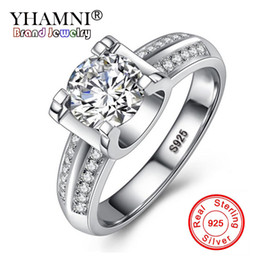 silver finger claws jewelry NZ - YHAMNI Lady Classic Four Claws 925 Silver Wedding Finger Ring Jewelry Fashion Woman Sparkling Zirconia Rings Wholesale ZR00401