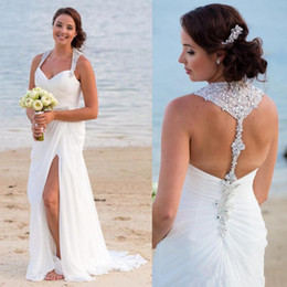 China Sexy Side Split Ruched Chiffon Beach Wedding Dresses with Beaded Halter Neck Backless summer holiday seaside Bridal Wedding Gowns supplier holiday models suppliers