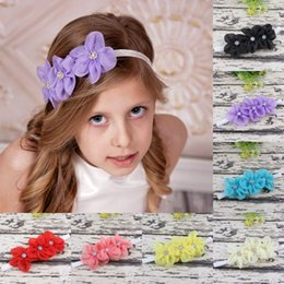 $enCountryForm.capitalKeyWord Australia - Infant Flower Pearl headbands Babies Girl chiffon flower Hair Band baby's photo props Head Band Kids Hairwear