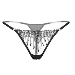 344232f9be3 Sexy Women Hot Lace Thongs and G Strings Pink Underwear Transparent Women  Panties Tassels Erotic Low Waist Crotchless Lingerie Underwear