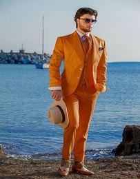 $enCountryForm.capitalKeyWord Australia - New Design Custom Made Cotton Piquet Orange Tuxedo With Matched Vest Summer Suit For Man 's Clothes(Jacket+Pants+Vest)