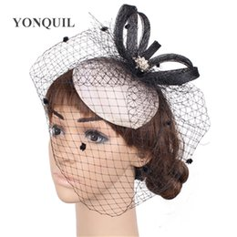 715b3b43154aa Vintage women Fascinator fabric Cocktail Hat black Hairband Veiling  Headband Lady Wedding Party Headdress DIY Hair Accessoies SYF283