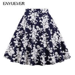 ebf0c1d29ab85 Enyuever Plus Size 50s Vintage Floral Print Skirts Womens Faldas Mujer Summer  Pleated Midi Pattern Elegant Casual Skater Skirt