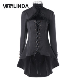 All'ingrosso-VESTLINDA Lace Trim Lace Up Dip Hem Trench Coat Autunno 2017 Fashion Womens Top Gothic High Collar Long Nero Capispalla Femme