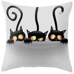 Discount chair cushion cartoon - 2018 Cute Cartoon Pattern Pillowcase Cat Pillow Case Married Couples Kitten Cushions Cover Outdoor Chair Cushions Wholes