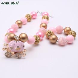 kids chunky necklace bracelet set 2019 - Pink Color Carriage Girl Kid Chunky Necklace&Bracelet Set Carriage Pendant Bubblegum Beads Chunky Necklace Jewelry Set F