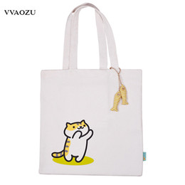 82e315606ee3 Anime Neko Atsume Cat Backyard Canvas Shoulder Bag Women Girls Lolita  Cartoon Handbag Shopping Tote Bags with Fish Pendants