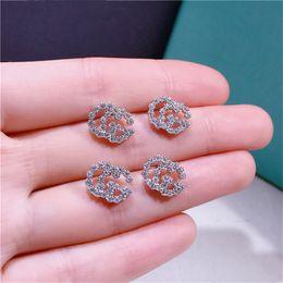 Fashion studs earrings online shopping - Brand New Silver Designer Earrings Fashion Women Real Photos Sterling Silver Earring Luxury CZ Diamond Silver Stud Earrings CC Jewelry