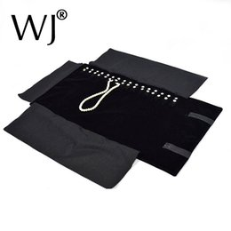 $enCountryForm.capitalKeyWord NZ - Black Velvet Organizer Jewelry Display Rolls Travel Storage Portable Bag Folding For Pendant Necklace Chain Stand Holder Case