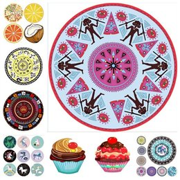 ice blanket 2019 - Unicorn Mandala Beach Towel Chiffon Ice Cream Fruit Pizza Printed Thin Round picnic blanket Summer Beach swimming shawl