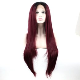 Chinese  Burgundy Lace Front Wigs Ombre Synthetic Long Straight Black Roots Burgundy Hair Synthetic Wigs For White Women Middle Part manufacturers
