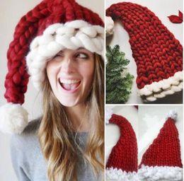christmas crochet gifts 2019 - baby adult knit Christmas Hat Santa Claus Hats Kids Gifts Children Soft Knit Xmas Decoration Sata Caps Photo Prop Hat LJ