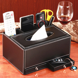 Discount Remote Control Storage Boxes   Home Fashion Multifunctional  Leather Box Tissue Pumping Box Desktop Remote
