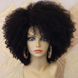 $enCountryForm.capitalKeyWord Australia - 180density full Afro Kinky Curly Lace Front synthetic Wig natural short afro Wig With Baby Hair for Black Woman