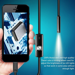 Camera Borescope 7mm Australia - Black 6LEDs 1M 7mm Lens Endoscope Waterproof Inspection Borescope Camera for Android PC Phone & Notebook Device
