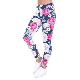 China Sexy Women Sports Fitness Yoga Pants Womens Rose Flowers Printed Yoga Skinny Workout Gym Mid Waist Fitness Sports Pants cheap mark roses suppliers