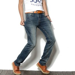 a7312d438b5 Jean Pants Men Cotton Solid Vintage Cool Trousers for Guys 2018 Europe  America Style Plus Size Q990