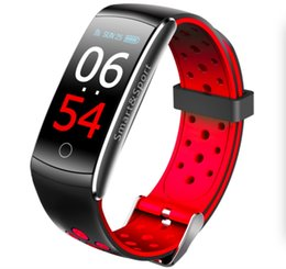 Fitbit red online shopping - Q8S smart bracelet fitness Tracker heart rate monitor Blood Pressure IPS Color Screen Waterproof Smart Wristband Watch for apple pk fitbit