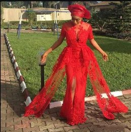 Short Red Lace Prom Vintage Dress Australia - Hot Red Nigerian Front Split Evening Dresses Short Sleeves Long Lace Appliques African Women Special Occasion Wear Prom Dresses