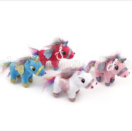 Mini plastic aniMal toys online shopping - 15 CM plush Unicorn Pendant keychain Toys Mini Flying Horse Unicorn Cartoon Animal Charm Bag Pendant Decor Soft Doll Toys KKA5529