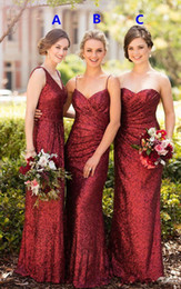 full length sparkly dress UK - 2018 More style Full length Country Garden Wedding Party Guest Junior Dress Sparkly Burgundy Sequins Sorella Vita Long Bridesmaid Dresses