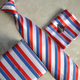 Discount wholesale necktie boxes - Lingyao 2017 New Fashion Necktie Set Unique Formal Ties Sets White Red Blue Striped Tie with Cufflink Handkerchief in Gi