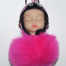 $enCountryForm.capitalKeyWord UK - Factory Wholesale Sleeping Baby Wearing Helmet Doll Pendant Buckle Keyring Pompom Plush Fur Ball Keychain Car Bags Phone Key Chain Gift