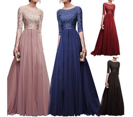 empire waist chiffon maxi dress NZ - Women Lace Evening Party Prom Gown Ladies Formal Empire Waist Long Dress Solid O-Neck Long Sleeve Floor-Length Maxi Dresses