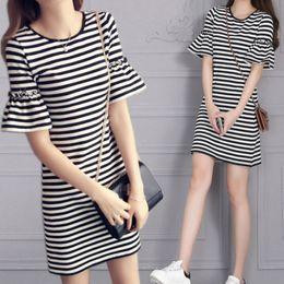 dec83ea12db4 New Summer Women's Black and White Striped Lady's Casual T-shirt Dress  Round Neck Half Flare Sleeve Medium Length Dress