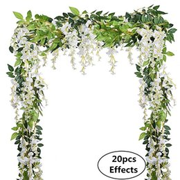 Wholesale Artificial Silk Wisteria Flowers Hanging Vine Faux Fake Plants Flowers Hanging Vine Artificial Ivy Leaves Garland Ratta Green Ivy Garlands
