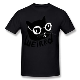 Newest Male 100% Cotton Weirrd cat T Shirts Male Crew Neck White Short Sleeve T Shirts Large Size Normal T Shirts