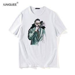 be1f2705b T shirts 2018 summer preppy style vintage 3D print character with  sunglasses and cat tee shirt man womens cropped tops