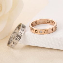 Roman Numerals Ring Wholesale Australia - Roman numeral diamond ring couple tail rings Korean version of 18K rose gold jewelry men and women rings Party Favor GGA1002
