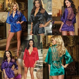 Black kimono dressing gown online shopping - 5 colors Women Lace Bathrobe Kimono with G string Waist Belt Sexy Lingerie Night Robe Pajamas Dressing Gown T2I241