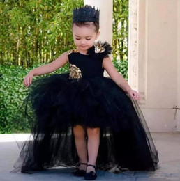 high low tutus NZ - Fashion High Low Ball Gown Girls Pageant Dresses Tulle Tutu Puffy Kids Flower Girl Dress Appliques Sleeveless For Toddler