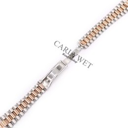 Wholesale 20mm Silver Middle Gold Solid Curved End Screw Links Stainless Steel Replacement Wrist Watch Band Bracelet Strap For President