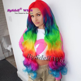 Loose Curls Long Hair Australia - Long 40inches Mermaid Color front lace Wig Synthetic Rainbow Color Hair Lace Front Wigs Red Blue Ombre Yellow green Color Loose Curl Wig