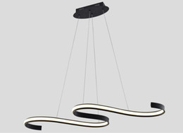 lighting fixtures for kitchens NZ - Modern Minimalist Led Pendant Light Wave Droplights Black Island Lighting Fixture 45W Indoor Chandeliers for Dining room Living room Kitchen