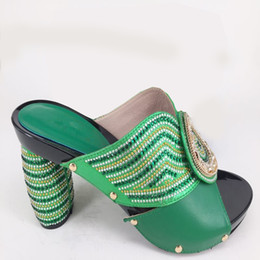 Shoes Green Color Australia - 2018 New African Slippers High Heels High Quality Italian High Heels Pumps African Women Wedding Shoes Green Color Women Shoes