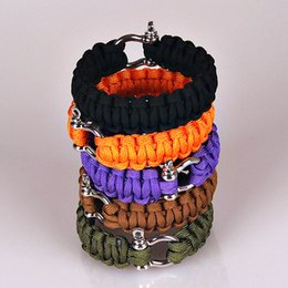 5Colors Survival Cord Rope Paracord O D Steel Buckle Bracelet Military Bangles Men Sport Outdoor Camping Climbing Aids Tools cheap channel tools from channel tools suppliers