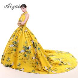 $enCountryForm.capitalKeyWord UK - Sexy Backless Halter Trailing Long Evening Dresses 2018 Yellow Crane Luxury Cheongsam Gown Wedding Dress Chinese Qipao Modern