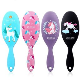 Wholesale Cute Unicornio Plastic Combs Anti Static Shower Hair Brush Colourful Fashion Unicorn Massage Comb New Arrive jz C