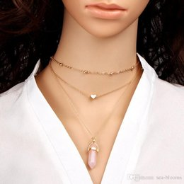 Pendants Green Amethyst Australia - Free DHL Hexagonal Column Necklaces Statement Chain Pendants Multi-layer Necklace Christmas Gift For Women Choker Exquisite Jewelry D782SF