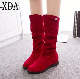 Lady Snow Boots Mid Calf Australia - XDA 2019 Autumn Winter Women Boots Flock Scrub Martin Boots Ladies Increased Low Heel Shoes Mid Calf long snow size 40 A06