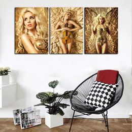 sexy figure for girls Australia - Large HD Print 3 Panel Abstract Gold Sexy Beauty Girl Modern Oil Painting On Canvas Home Wall Art Picture For Living Room Decor