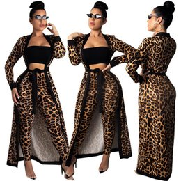 Leopard Print Motorcycle NZ - Hottest Winter Tracksuits Lady Leopard Print Coat +Pencil Pants Sashes Two Pieces Women's Set Fashion Tracksuits Outfits Fast Shipping