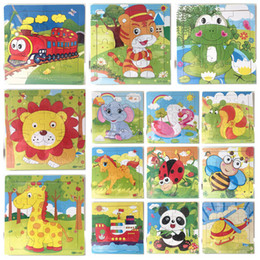kids educational game 2019 - 16pieces Wooden Puzzle Kindergarten Baby Toys Children Animals Wood 3D Puzzles Kids Building Blocks Funny Game Education