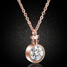perfume romantic NZ - Creative Perfume Bottle Necklace Women Romantic Zircon Pendant Necklace Stainless Steel Clavicle Chain Fashion Jewelry Accessories Wholesale