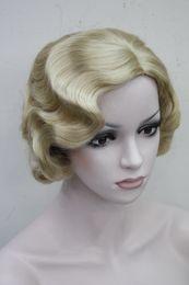 $enCountryForm.capitalKeyWord NZ - super stunning Finger Wavy Style Short Skin Top Synthetic golden blond Hair Wig