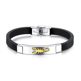 $enCountryForm.capitalKeyWord UK - Gold Silver Black Color Fashion Simple Men's Silicone Scorpion Bangle Stainless Steel Bracelet Watchband Jewelry Gift for Men Boys 1236